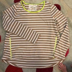 Anthropologie neon zip long sleeve top